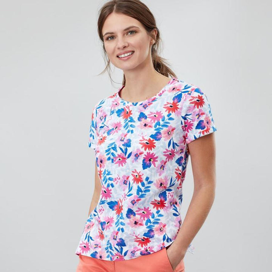 Joules Nessa Jersey Top White Multi Floral