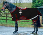 Boston Pony Horse Ride On Waterproof Hi Viz Safety Reflective Exercise Sheet Rug Black/Red