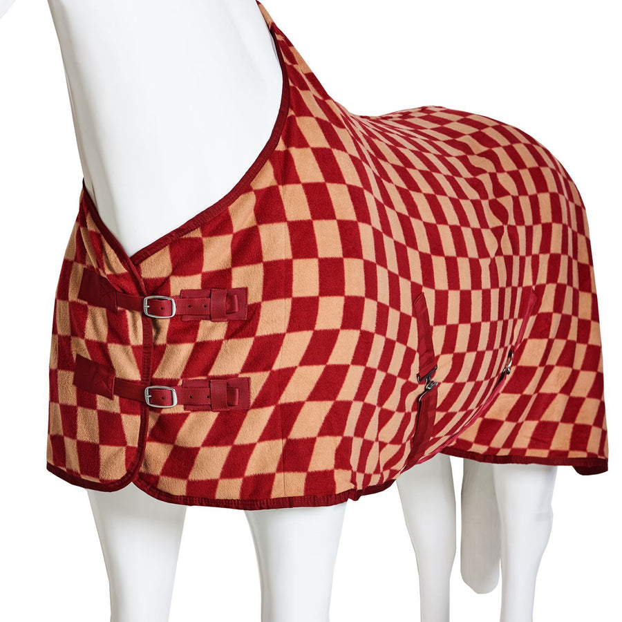 Best On Horse Checkered Standard Neck Fleece Red Check