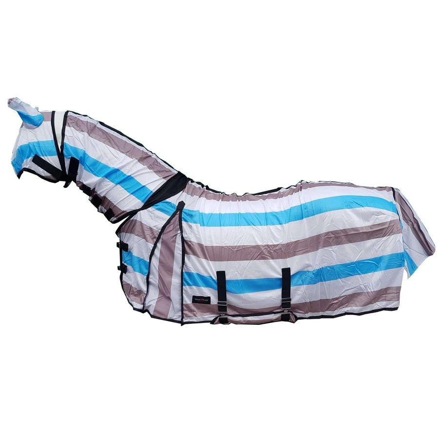 Best On Horse Printed Fly Rug and Mask Turquoise White Grey