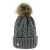 Equi-Theme Twisted Bobble Hat Light Grey