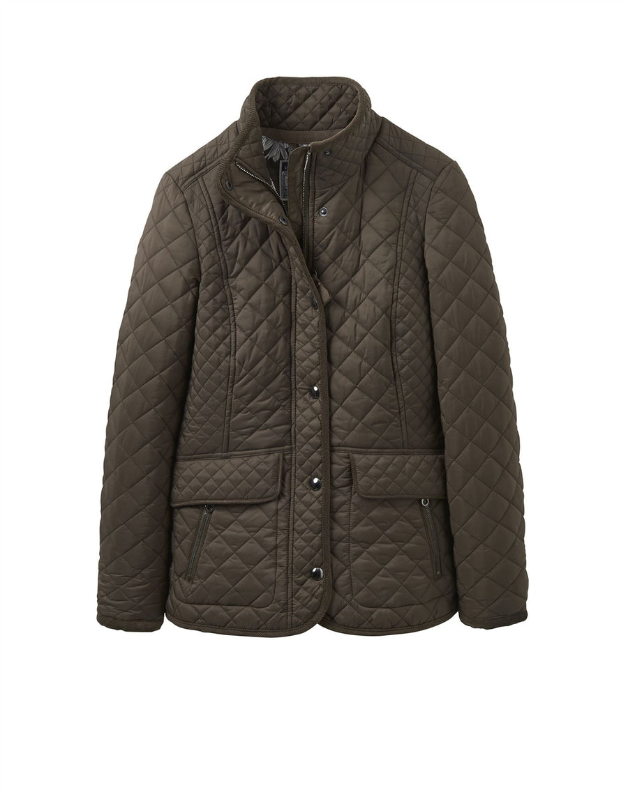 Joules Newdale Quilted Coat Wild Mushroom