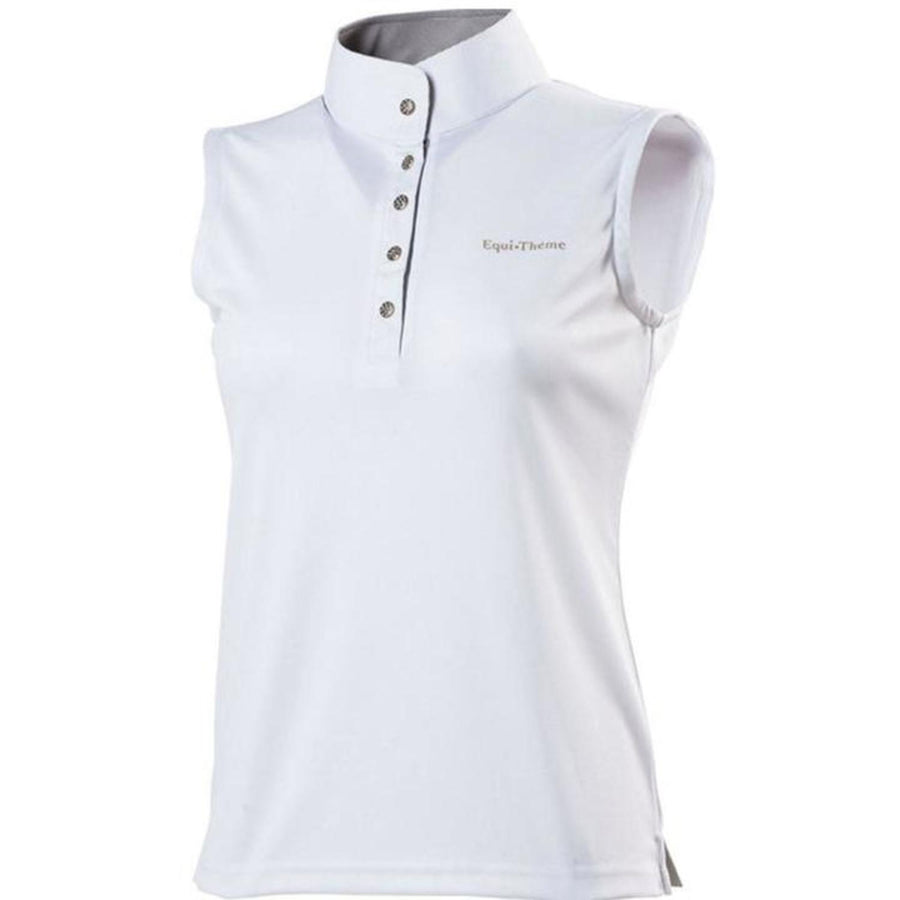 Equi-Theme Ladies 'Mesh' Polo Shirt Sleeveless White