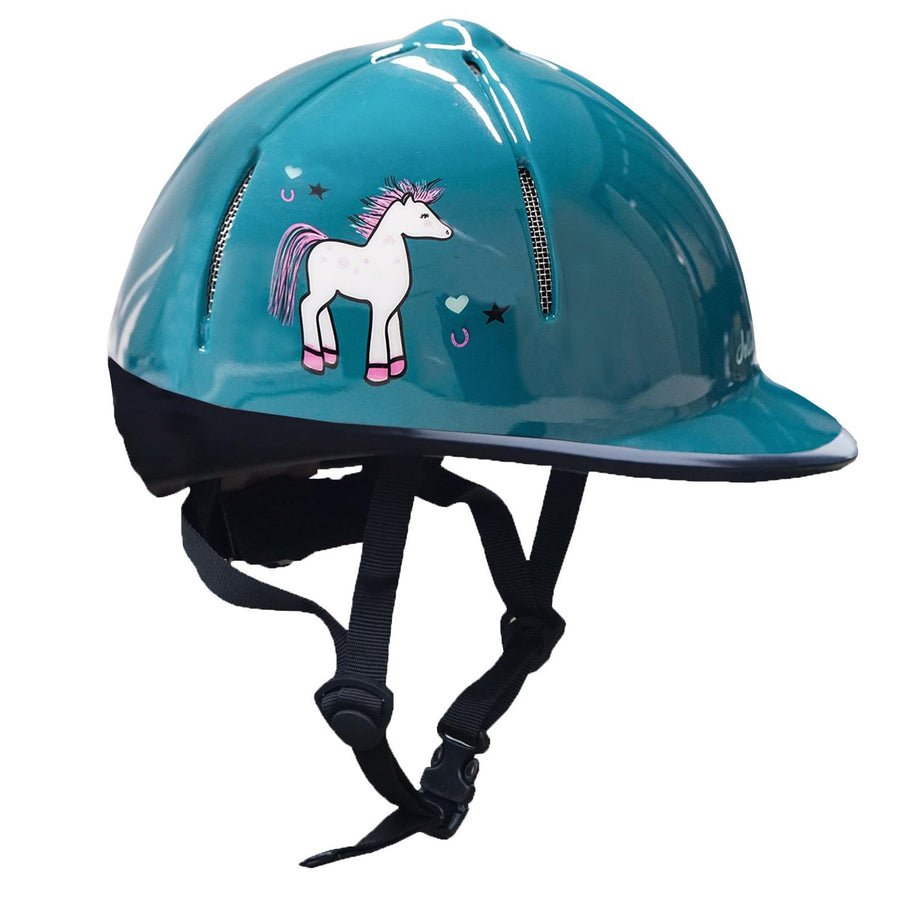 Red Horse Rider Safety Helmet Sea Green