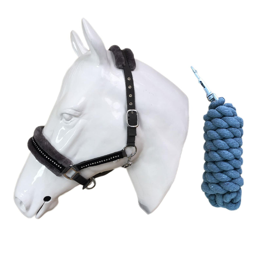 White Horse Equestrian Diamond Fleece Headcollar Grey