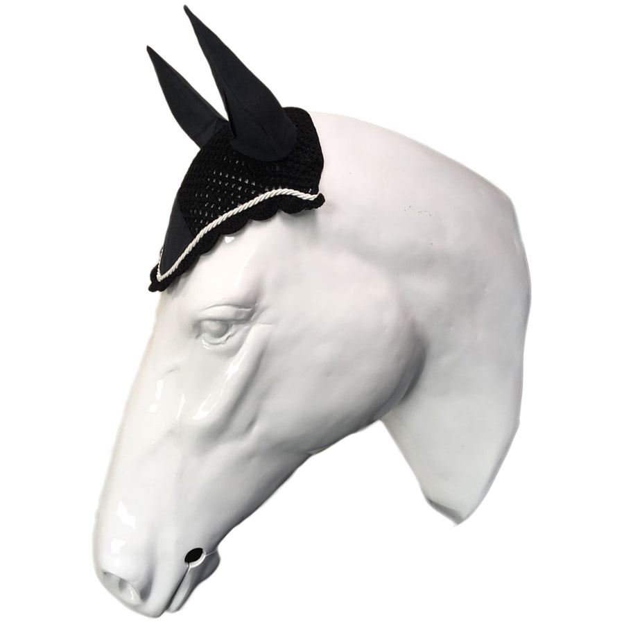 White Horse Equestrian Ear Bonnet Black/White