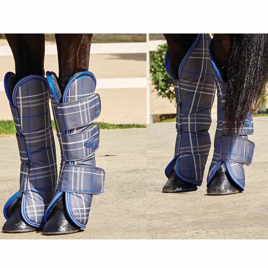 Weatherbeeta Wide Tab Long Travel Boots Grey Plaid Pony