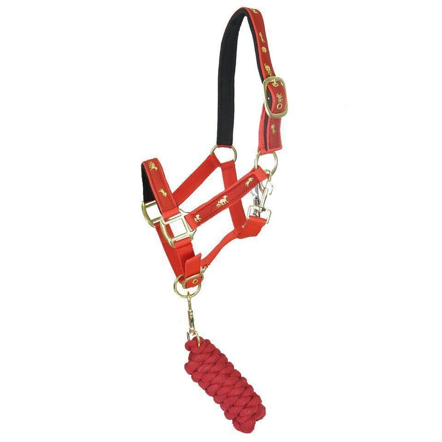 White Horse Equestrian Horse Print Head Collar Red