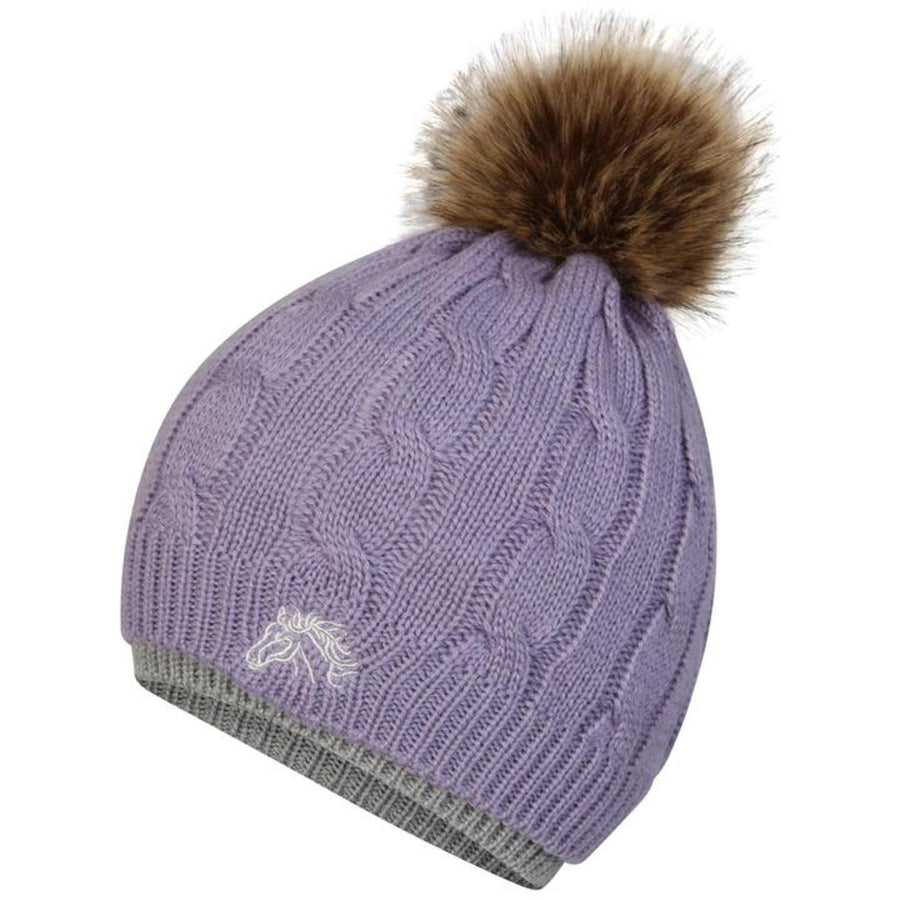 White Horse Equestrian Bobble Hat Purple