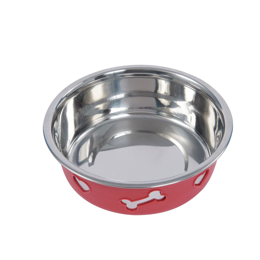 NON-SLIP STAINLESS STEEL SILICONE Bowl Dog Pet Raspberry
