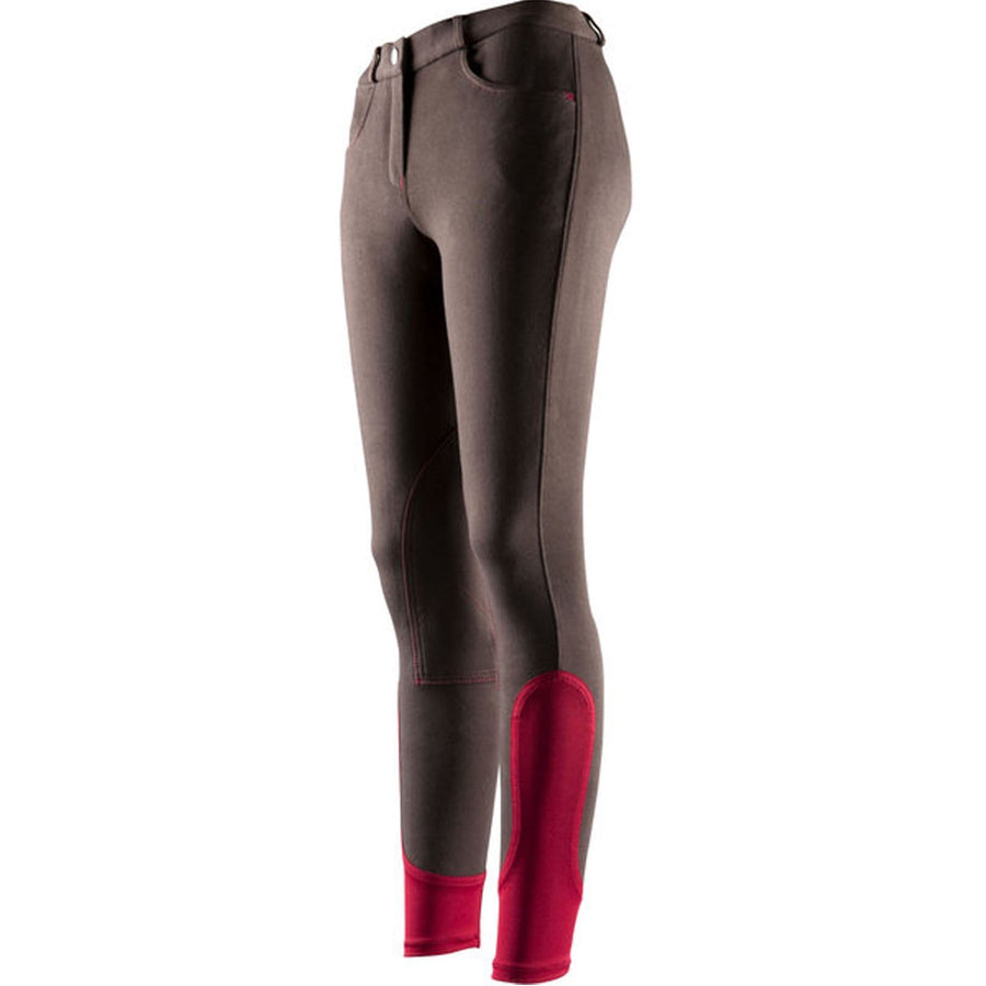 Equi-Theme Pro Ladies 'Fun Line' Breeches Chocolate/Red