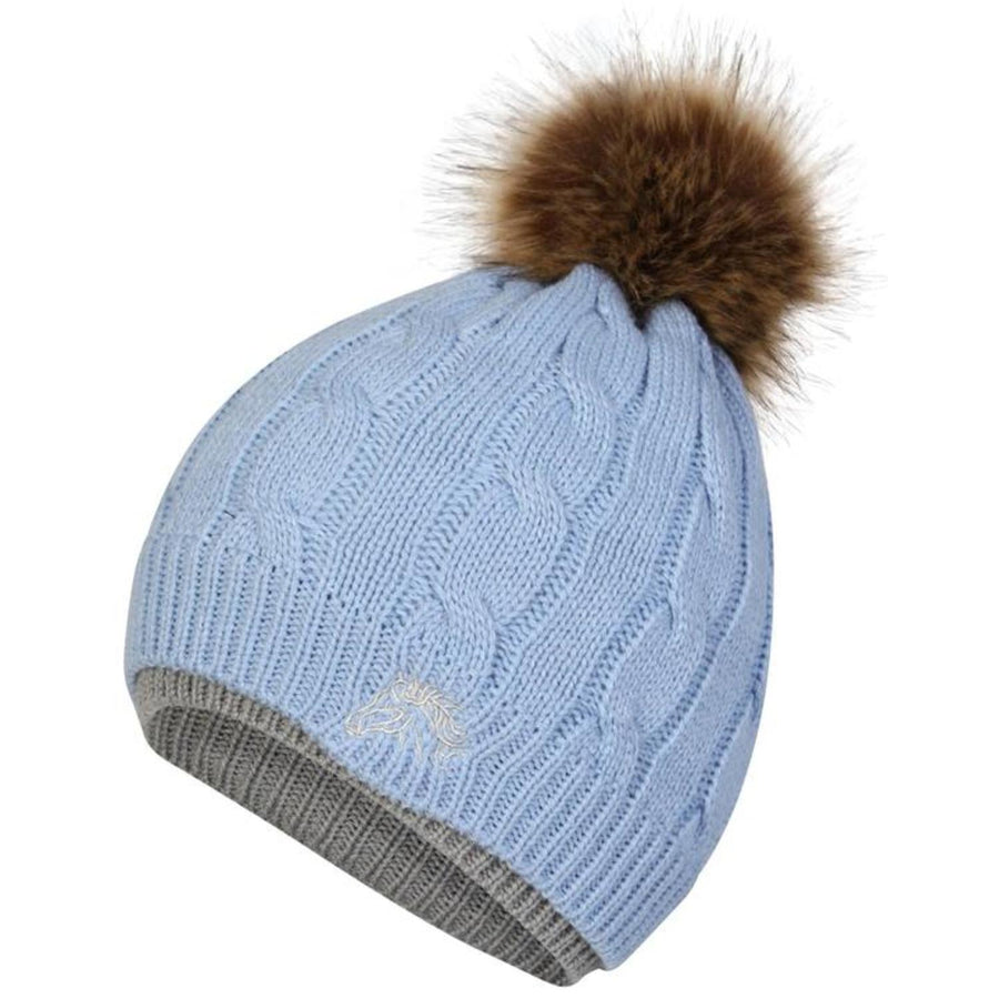 White Horse Equestrian Bobble Hat Baby Blue