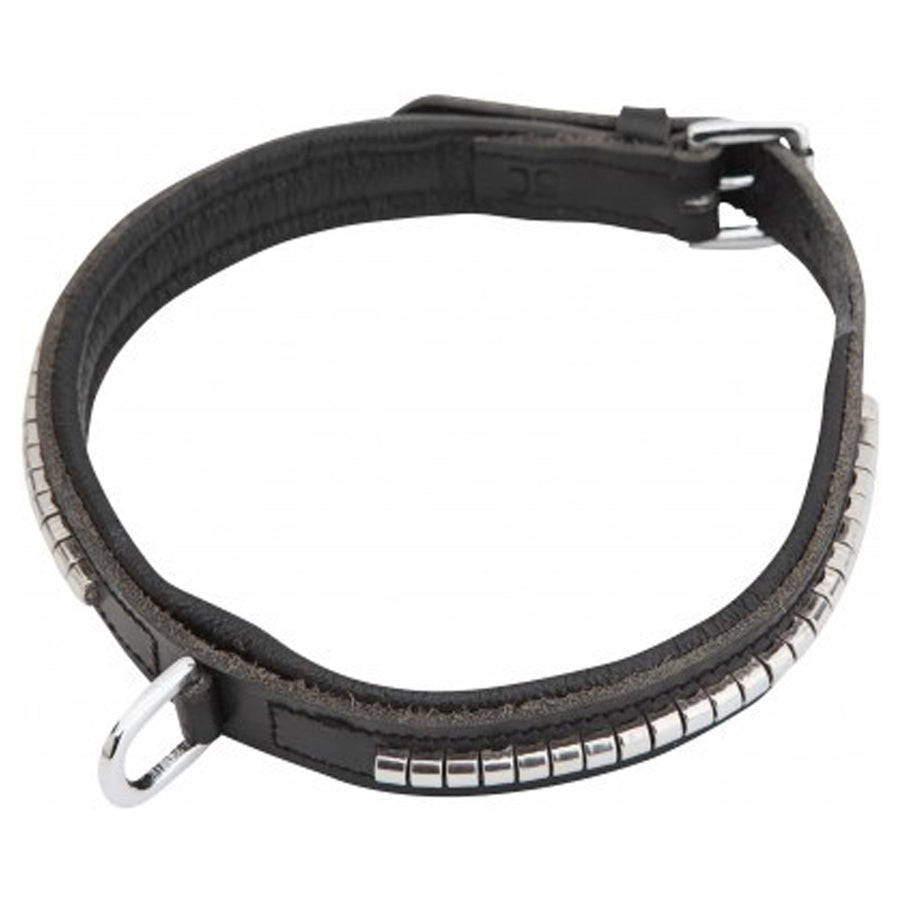 Horka 'Clincher' Leather Dog Collar Black/Silver