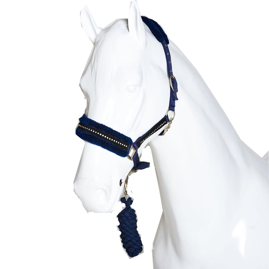 White Horse Equestrian Diamond Fleece Head collar Dark Blue