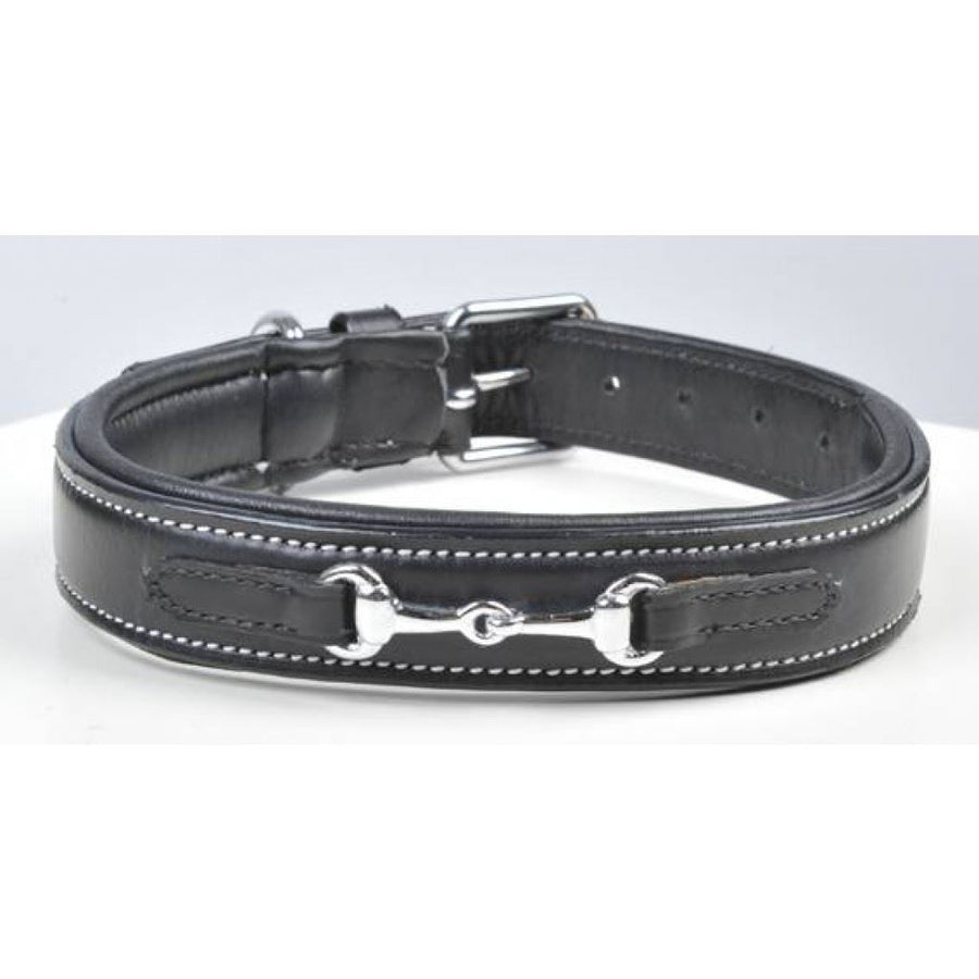 HKM Bit Leather Dog Collar Black