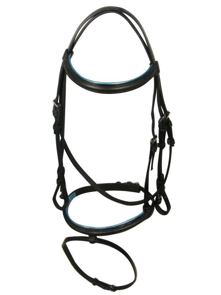 White Horse Equestrian Bridle and Reins Blue