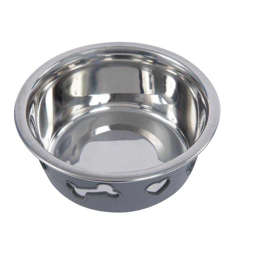 NON-SLIP STAINLESS STEEL SILICONE Bowl Dog Pet Grey