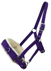 White Horse Equestrian Fleece Lined Lunge Cavesson Purple