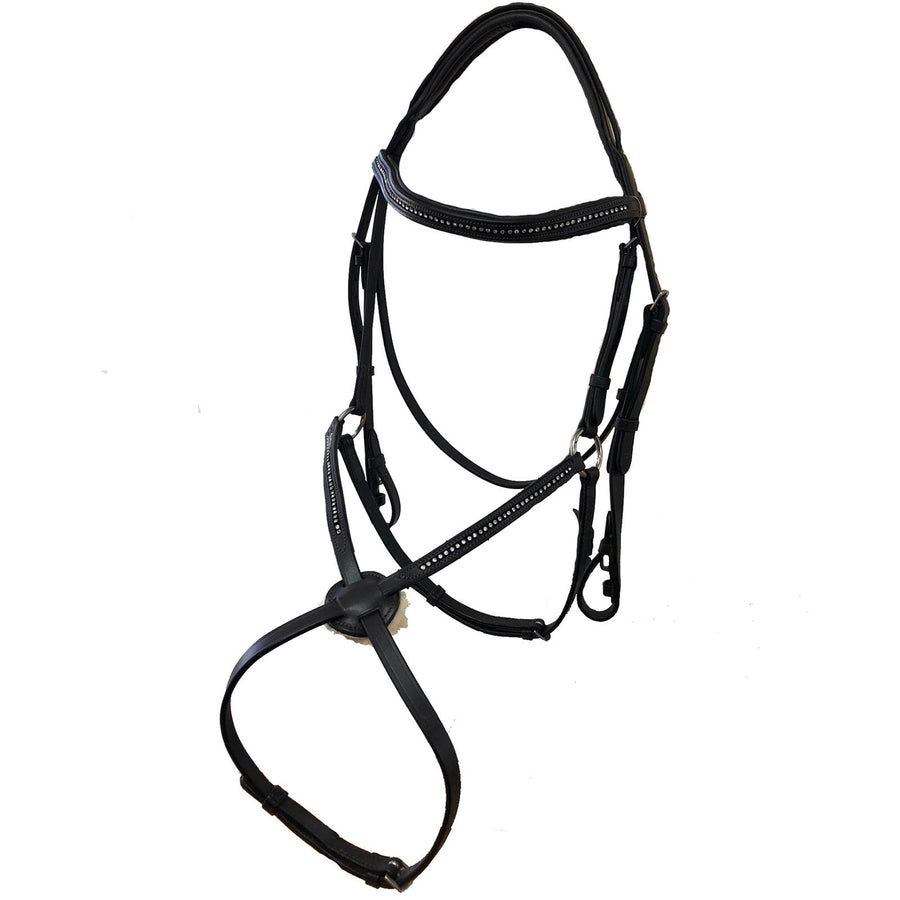 White Horse Equestrian Star Gem Leather Grackle Bridle Black