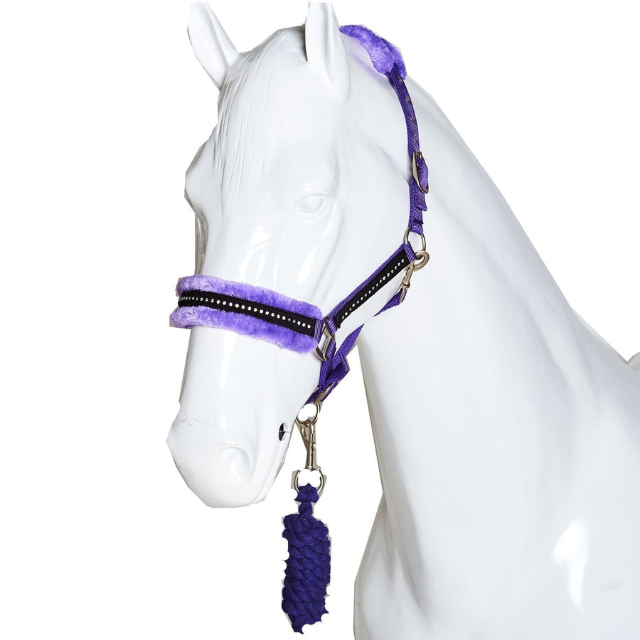 White Horse Equestrian Diamond Fleece Head collar Purple
