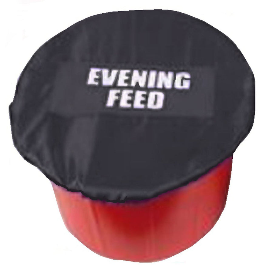 White Horse Equestrian Morning/Evening Feed Bucket Cover Black