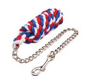 Cottage Craft Deluxe Lead Rope with Chain Navy Blue/Red/White
