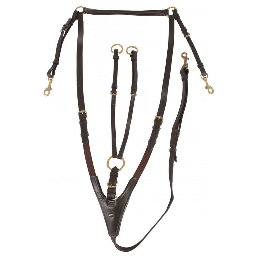 Horka 'Hunting' Breastplate Guiding Reins Brown/Gold