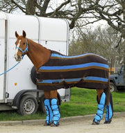 White Horse Equestrian Striped Fleece Cooler Rug Brown/Blue