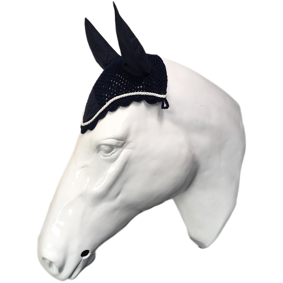 White Horse Equestrian Ear Bonnet Navy/White