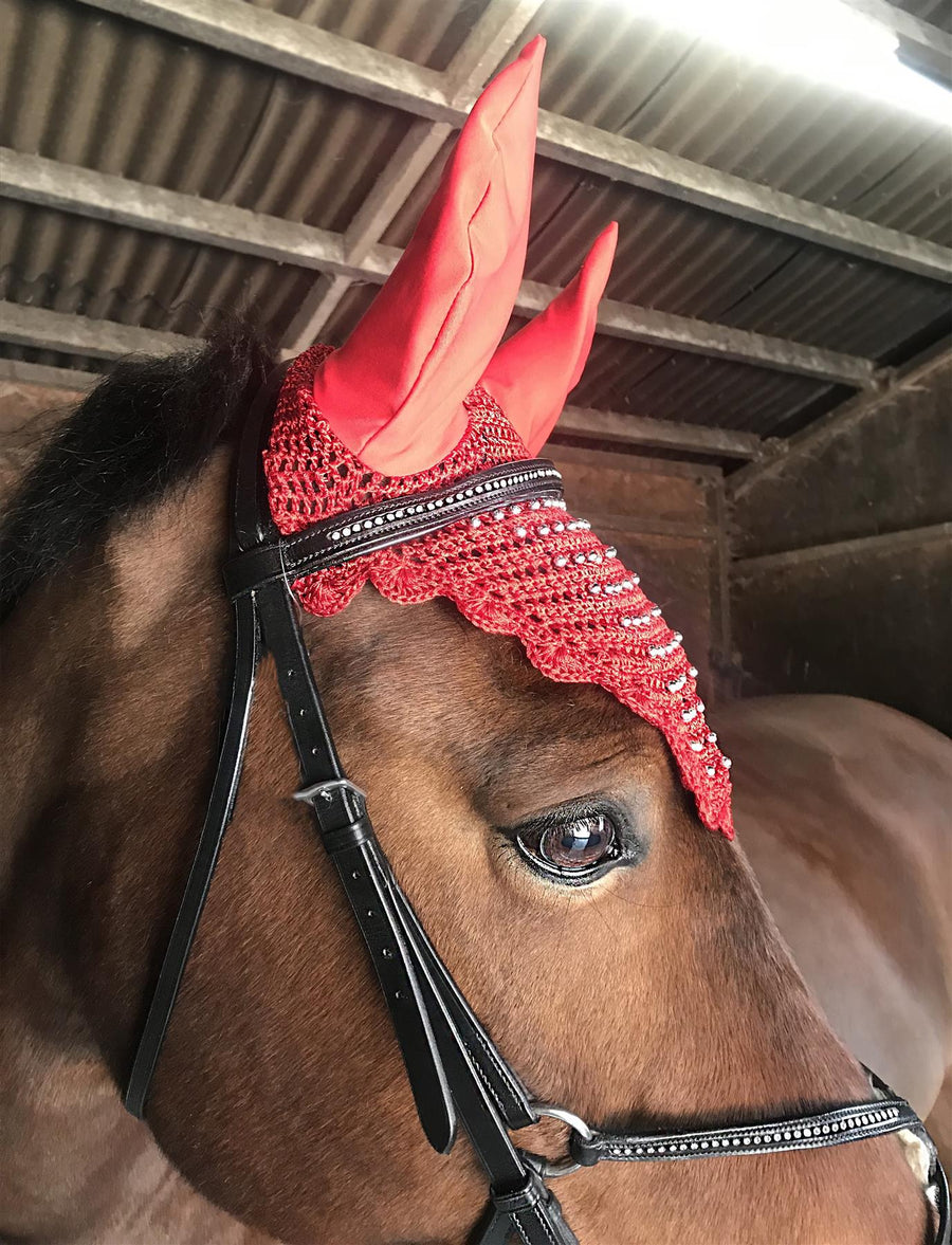 White Horse Equestrian Beaded Fly Veil Red