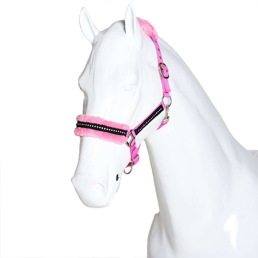 White Horse Equestrian Diamond Fleece Headcollar without Leadrope Pink