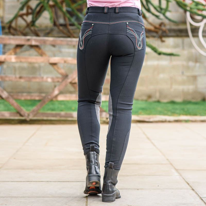 Best On Horse Micro Breeches Black/Grey