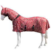 White Horse Equestrian Fly Rug With Mask Red Zebra