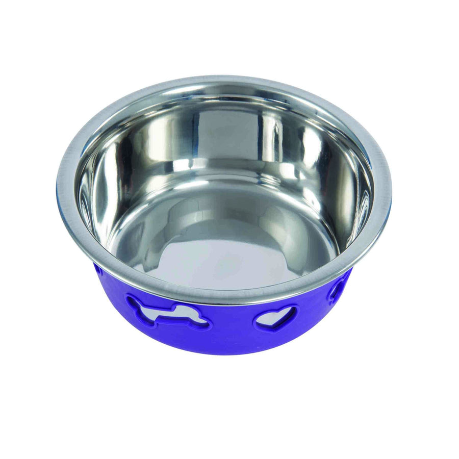NON-SLIP STAINLESS STEEL SILICONE Bowl Dog Pet Purple