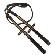 White Horse Equestrian Diamante Reins Brown/Gold
