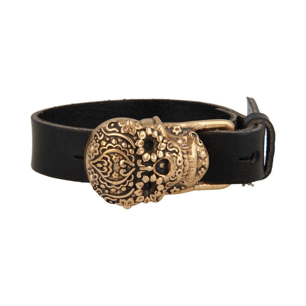 Made for Luxury -Bracciale In Pelle Teschio Messicano Bronzo -  BLTB 3929