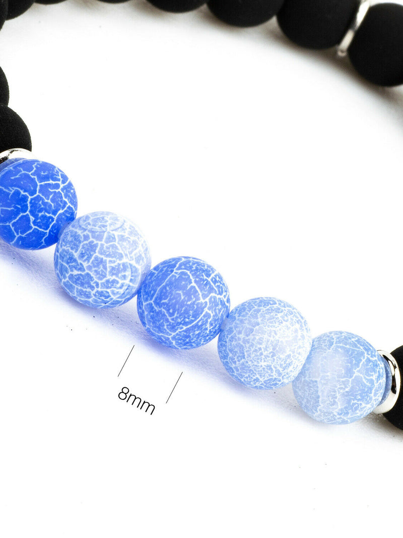 Bracciale pietra lavica con perle agata cenere blu e charms - Made for luxury