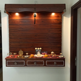 Living room - wall mounted puja unit mandir