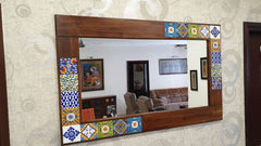 CustHum-handcrafted mirror with solid wood frame inlaid tiles