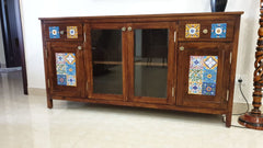 CustHum-custom made solid wood sideboard with inlaid tiles