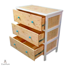 Load image into Gallery viewer, CustHum-Arendelle-chest of drawers with cloud shaped handles (open drawers view)