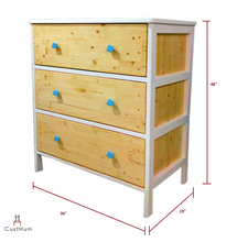 Load image into Gallery viewer, CustHum-Arendelle-chest of drawers with cloud shaped handles-dimensions