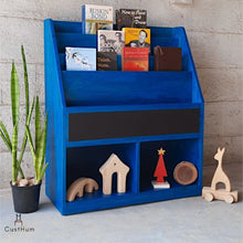 Load image into Gallery viewer, CustHum Siya-solid wood bookshelf for kids-blue-01
