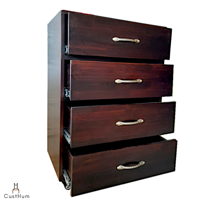 CustHum-Vivara-chest drawers on wheels with 4 large drawers (open, profile view)