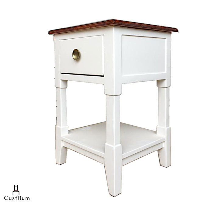 CustHum-Daisy-Two tone solid wood bedside lamp table-01