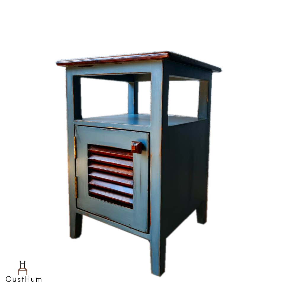 CustHum-Sage-two tone silver grey and rainforest teak bedside table with slated door-side view