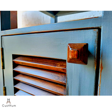 Load image into Gallery viewer, CustHum-Sage-two tone silver grey and rainforest teak bedside table with slated door-closeup of handmade handle