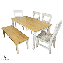 Load image into Gallery viewer, CustHum-Giverny-6 seater solid wood dining set in farmhouse inspired design-01