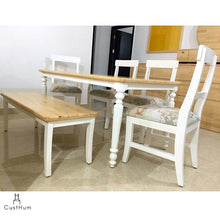 Load image into Gallery viewer, CustHum-Giverny-6 seater solid wood dining set in farmhouse inspired design-02