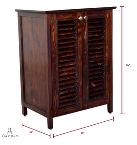 Gustav - Solid Wood Louvered Shoe Storage Cabinet